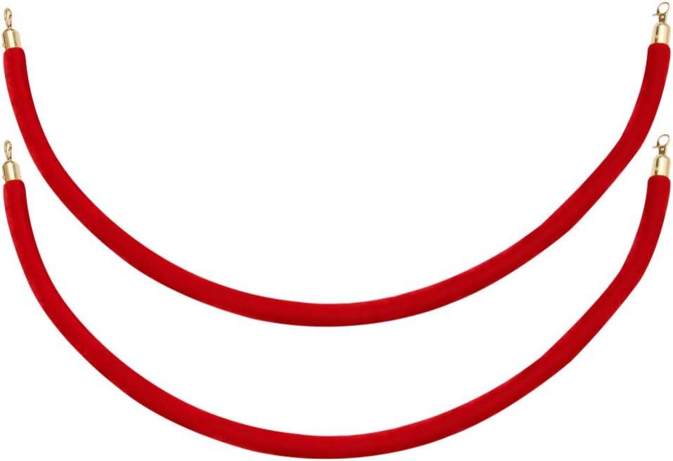 Corde de File Dattente avec Crochets Chandelier de Contr/ôle de Foule Corde de Charpie Rouge Corde de Barri/ère Corde de File Dattente pour H/ôtel Restaurant Cin/éma iplusmile Corde de Barri/ère