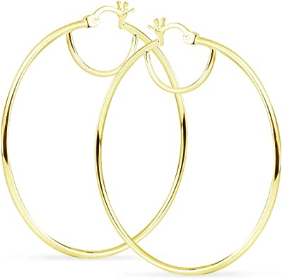 925 Sterling Silver 2mm x 60mm Hoop Earrings with Click