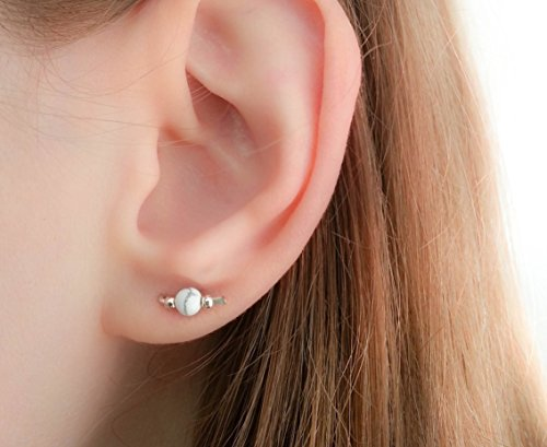 Tiny Marble Stud Earrings White Howlite Stone Sterling Silver Small Mini Climbers
