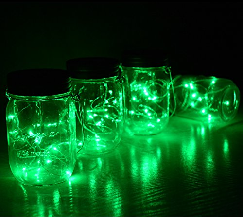 Homeleo 4 Pack WIDE MOUTH Mason Jar Solar LED Lights Insert Screw, Warm White Waterproof Solar Fairy Lights for Outdoor Garden Decor Christmas Holiday Wedding Party(Jars NOT included)