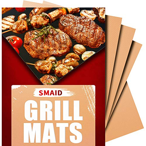 Smaid - Copper Grill Mat Set of 4 - Non-Stick BBQ Grill Mats - FDA-Approved, Reusable and Easy To Clean - Works on Gas , Charcoal , Electric Grill and More - 15.75 x 13 Inch - Grill Gas Set