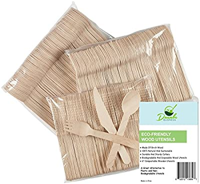 "Wooden Disposable Cutlery Set of 300pc, incl. 100 Forks, 100 Spoons, 100 Knives, 6"" in Length, Combo Pack, Eco Friendly, Biodegradable, Compostable, 100% Natural Utensils By Danube"
