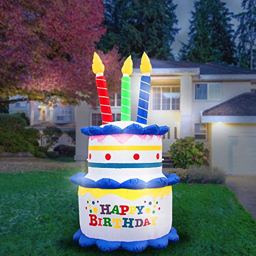 Holidayana 8-Foot Inflatable Birthday Cake with Candles Party Decoration, Includes Built-in Bulbs, Tie-Down Points, and Powerful Built-in Fan]()