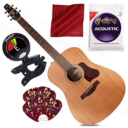 Seagull S6 Original Acoustic Guitar with Guitar Strings, Picks, and Tuner -