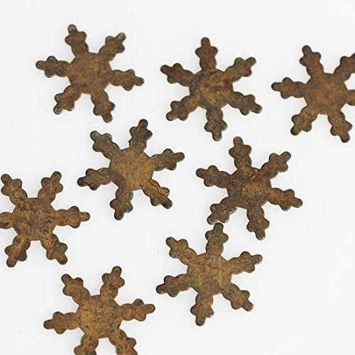 Factory Direct Craft Group of 32 Primitive Rusty Tin Miniature Snowflake Cutouts