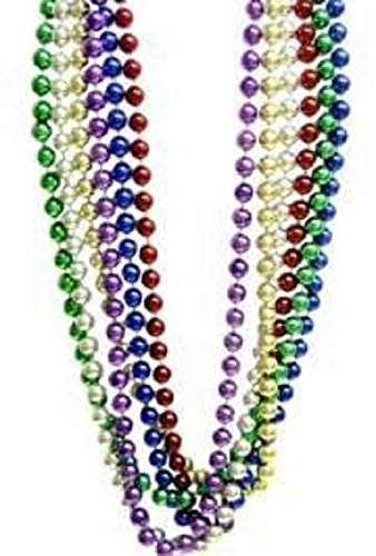 Mardi Gras, Assorted Metallic Color Beads, 16 mm, 72