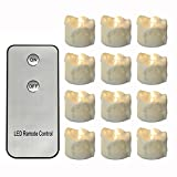 Dellukee Battery Operated Flameless Candles With Remote 96pcs Cute Drop Tear Warm White Flickering 1.2 Inch LED Tea Lights For Halloween Christmas New Year Family Party Decoration