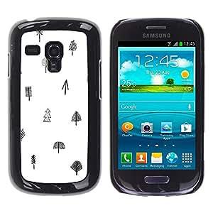 Be Good Phone Accessory // Dura Cáscara cubierta Protectora Caso Carcasa Funda de Protección para Samsung Galaxy S3 MINI NOT REGULAR! I8190 I8190N // Tree White Black Pattern Minimal
