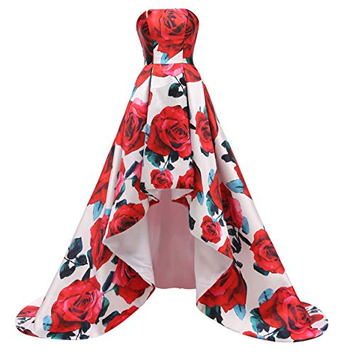 FTBY Floral Print Prom Dress Women Vintage Long Evening Dress Satin Formal Party Gown Hi-Lo Red Floral A-16