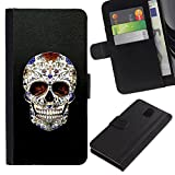 UPPERHAND Stylish Image Picture Black Leather Bags Cover Flip Wallet Credit Card Slots TPU Holder Case For Samsung Galaxy Note 3 III N9000 N9002 N9005 - skull cross Christian death bling biker