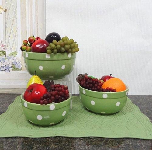 Mixing Bowl Case - Set of 3 POLKA DOTS Green Ceramic Mixing Bowls, 82169MIX By ACK
