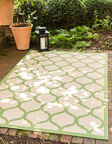 Unique Loom Outdoor Trellis Collection Lattice Border Transitional Indoor and Outdoor Flatweave Beige /Green  Area Rug (7' 0 x 10' 0)