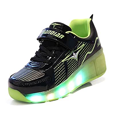 Licy Life Unisex Kids LED Low-top Trainer Roller Skates Shoes with Single Double Wheels Retractable Lightweight Outdoor Sports Cross Trainers Gymnastic Running Sneakers for Boys Girls