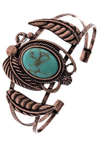 TRENDY FASHION JEWELRY FAUX STONE ETCHED LEAF CUFF BRACELET BY FASHION DESTINATION | (Copper/Turquoise)