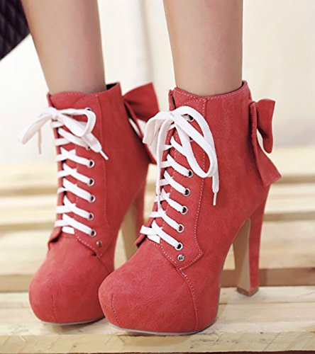 Aisun Womens Elegant Bows Round Toe Dress Platform Chunky High Heel Lace Up Ankle Boots Booties Shoes Red 0EKRBsmPc