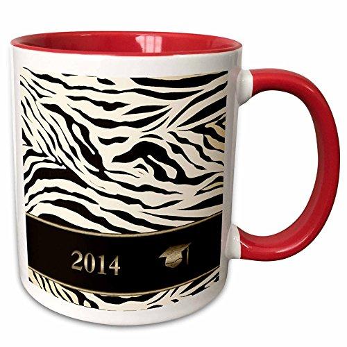 3dRose Beverly Turner Graduation Design - 2014 Zebra Print with Graduation Cap, Sepia, Gold, and Brown - 15oz Two-Tone Red Mug (mug_180906_10)