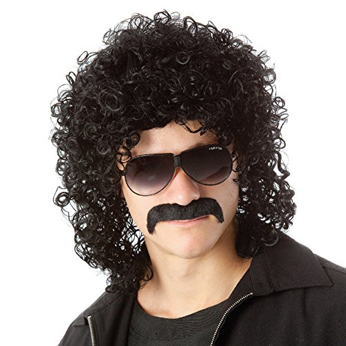 Curly Hair Wig Costumes (Men Short Curly Hair Wigs Black Rocker Costume Wig with Mustache Synthetic Wigs with Wig Cap WIG154)