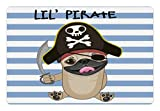 Lunarable Pirate Pet Mat for Food and Water, Buccaneer Dog in Cartoon Style Costume Lil Pirate Striped Backdrop Funny Animal, Rectangle Non-Slip Rubber Mat for Dogs and Cats, Multicolor