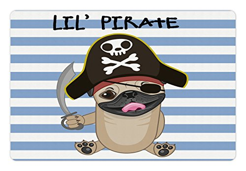Lunarable Pirate Pet Mat for Food and Water, Buccaneer Dog in Cartoon Style Costume Lil Pirate Striped Backdrop Funny Animal, Rectangle Non-Slip Rubber Mat for Dogs and Cats, Multicolor by Lunarable (Image #2)