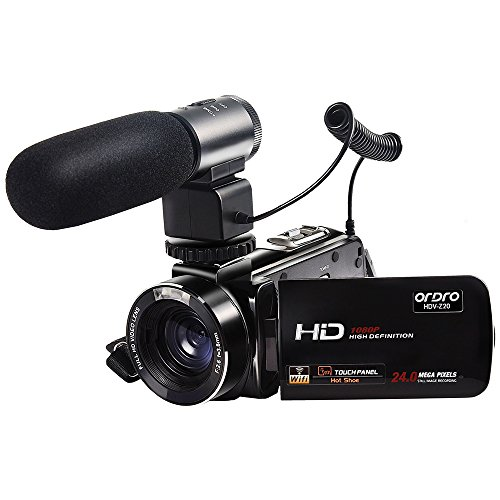 ORDRO Wifi Video Camcorder Full HD 1080p Handheld Digital Camera with External Microphone