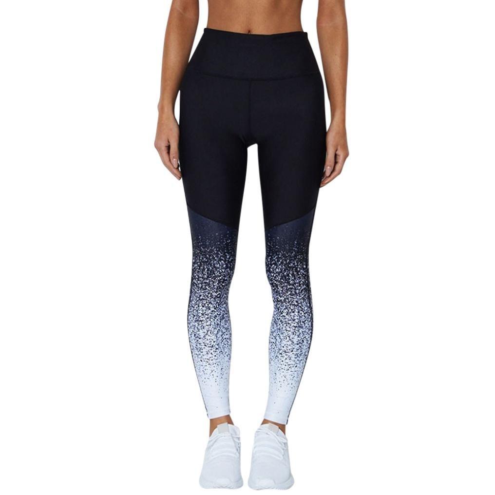 Vanvler Women High Waist Pants Ladies Gradient Elastic Leggings Yoga Trousers Fitness Workout (S, Hot Pink)