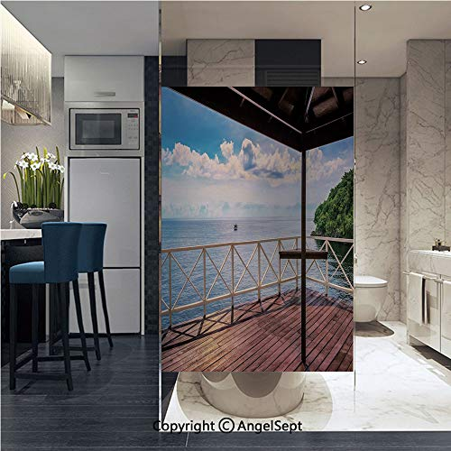 (AngelSept Window Film Door Sticker Glass Film Balcony Porch Sea Ocean View in Trinidad and Tobago Island Tropic Photo Image Both Suitable for Home and Office, 22.8 x 35.4 inch,Multicolor)