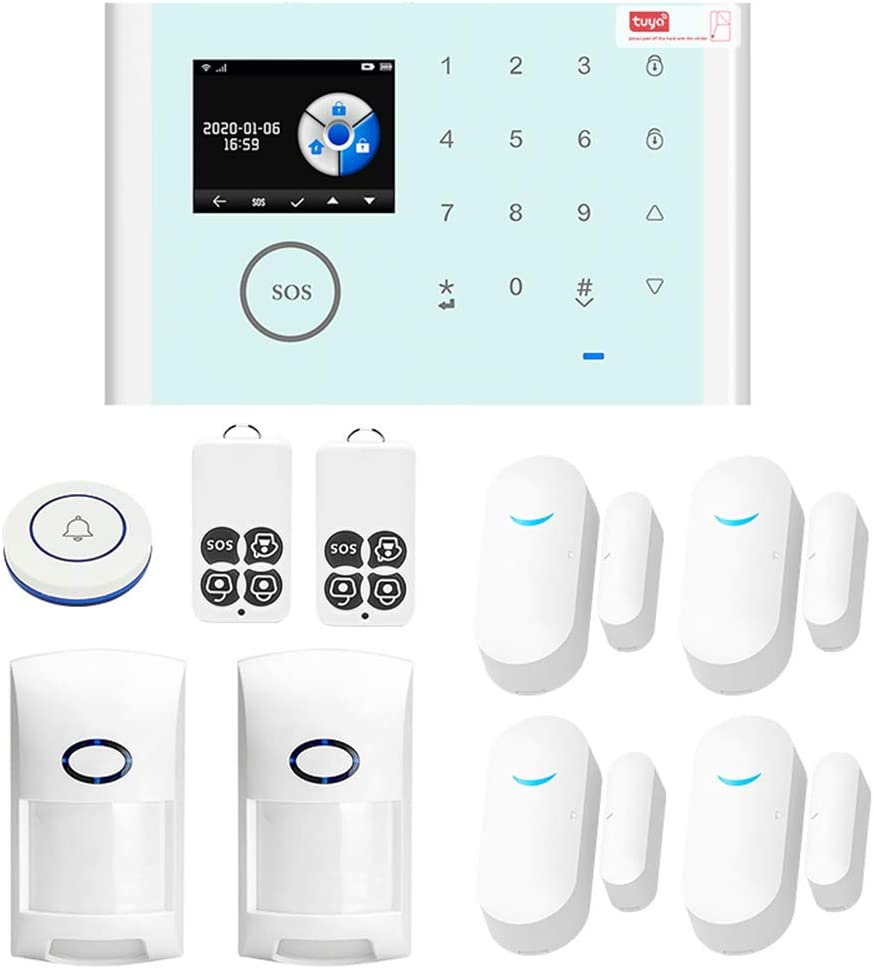OWSOO Home Alarm System,CS118 WiFi+GSM+GPRS 3 in 1 Network Intelligent Home Alarm System Tuya APP Remote Control 433MHz Home Secure Door Bell Smart Alertor Compatible with Amazon Alexa Voice Control