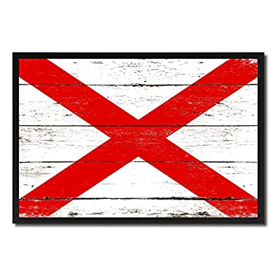 State Flag Canvas Print, Black Picture Frame Gift Ideas Home Decor Wall Art Decoration