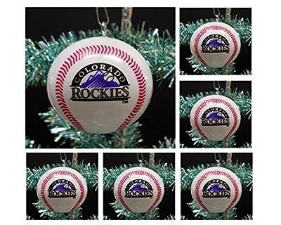 "MLB Major League Baseball Colorado Rockies Set of 6 Holiday Christmas Tree Ornaments Featuring Rockies Team Baseball Ornaments Ranging from 2"" to 2.5"" Tall"