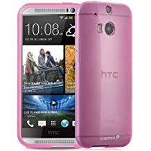 Fosmon® All New HTC One (M8) 2014 (DURA-CANDY) Glossy Ultra Slim Flexible TPU Gel Case Cover - Fosmon Retail Packaging (Pink)