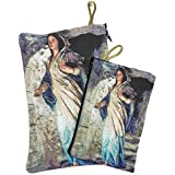 Set Madonna Virgin Mary Rosary Icon Pouch Tapestry Keepsake Pray Case Jerusalem