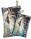 Set Madonna Virgin Mary Rosary Icon Pouch Tapestry Keepsake Pray Case Jerusalem