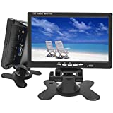 Camecho Mini PC CCTV Display Home Security Surveillance Screen 1024x600 7 inch HD LCD Car Backup Monitor Support HDMI/VGA / Video/Audio with free 5 mm AC Adapter