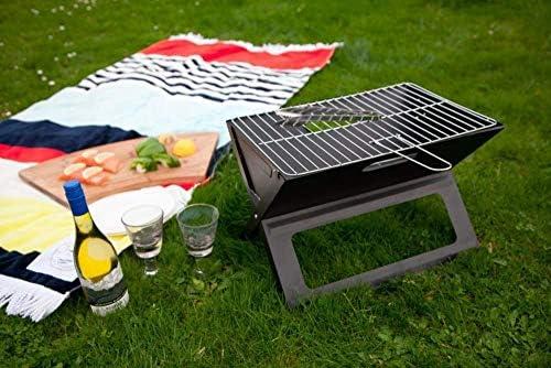 YOMI Grill Pliable pour Ordinateur Portable - Barbecue De Pique-Nique Portable avec Grille De Cuisson Chromée (Noir)