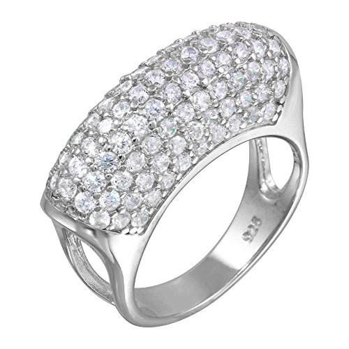 Sterling Silver Pave Dome - CloseoutWarehouse Cubic Zirconia Pave Dome Cocktail Ring Rhodium Plated Sterling Silver Size 7