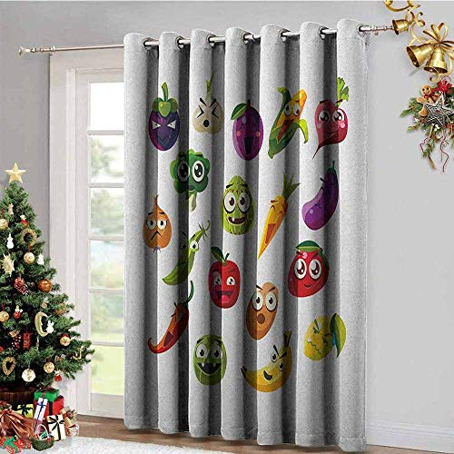 - Emoji Kitchen Gromets Curtain and Valances Set Window Drapes 2 Panel, Fruits and Vegetables Carrot Banana Pepper Onion Garlic Food Cartoon Style Symbols Soft Darkening Curtains, Multicolor, W96 x L7