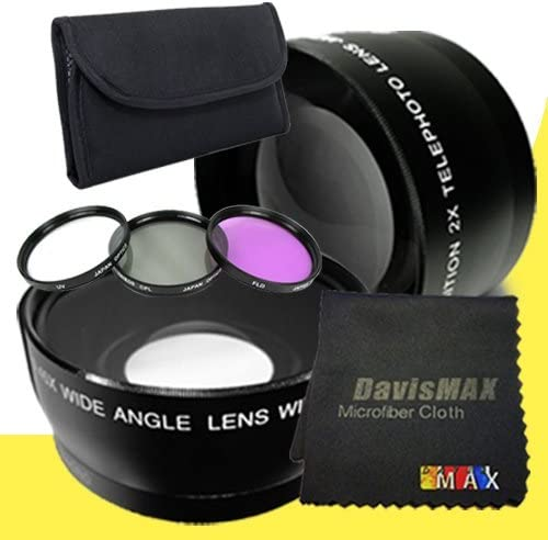DavisMAX Fibercloth Lens Bundle 3 Piece Filter Kit for Sony Alpha NEX-5T with Sony 16mm f//2.8 Carl Zeiss Lens 2x Telephoto Lenses 49mm Wide Angle