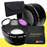 72mm Wide Angle + 2x Telephoto Lenses + 3 Piece Filter Kit for Canon EOS Rebel T2i with Canon EF 180mm f/ 3.5L Macro USM Lens + DavisMAX Fibercloth Lens Bundle