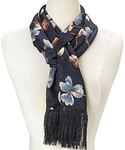 MONIQUE Women's Unique Artistic Motif Hand Knotted Fringe 100% Silk Scarf,Black & Blue Floral One Size