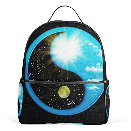 JSTEL Yin Yang GuaSpace Galaxy Twinkle School Backpacks for Boys Girls Bookbag (Bag Yang)