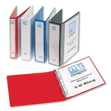 Emgee 560321 - Archivador de 4 anillas en D (formato A4, PVC, lomo de 40 mm, 6 unidades), color rojo: Amazon.es: Oficina y papelería