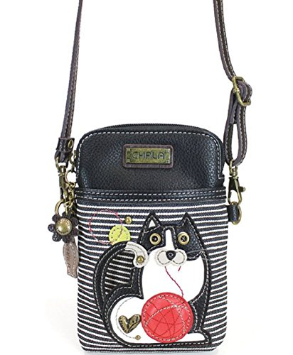 Chala Crossbody Cell Phone Purse - Women PU Leather Multicolor Handbag with Adjustable Strap (Blue - Kitty Striped)