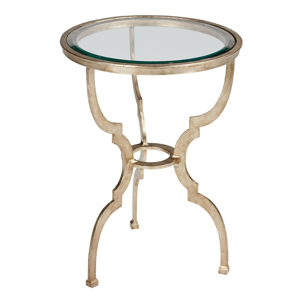 Antiqued silver round metal accent table from Ethan Allen