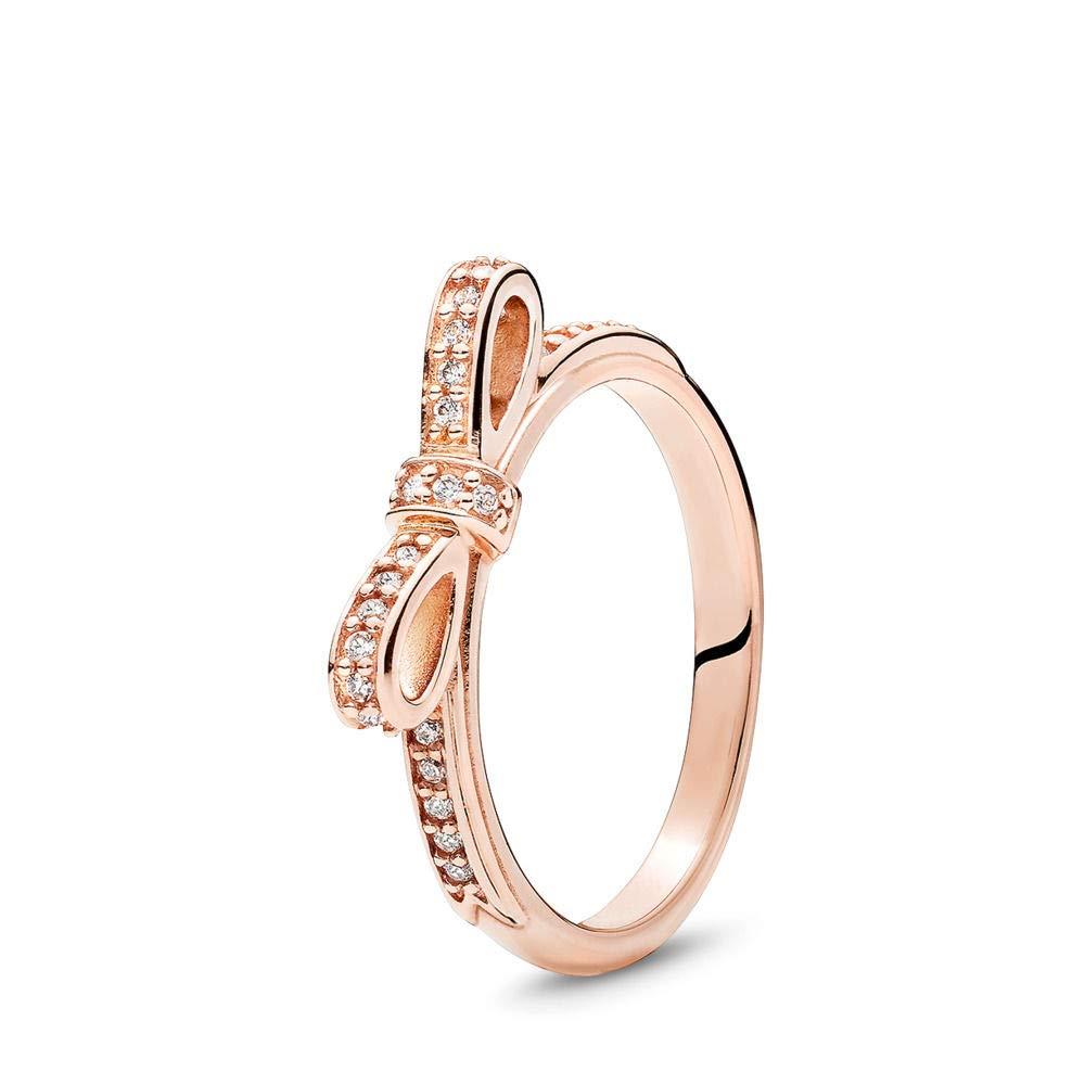 PANDORA Sparkling Bow Ring, PANDORA Rose, Cubic Zirconia, Size 5