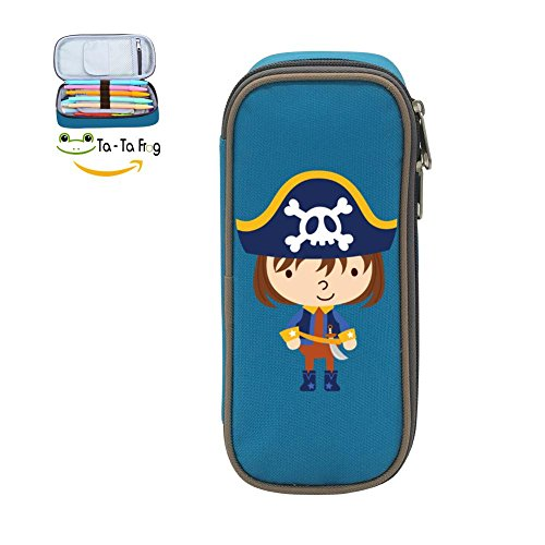 Pen Case Cute Pirate Pencil Bag Big Capacity Multifunction Canvas-blue for boy girl (Paper Holder Pirates Clip)