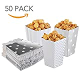 silver mini popcorn boxes - HansGo 36 Pcs Popcorn Boxes Striped Paper Movie Popcorn Favor Boxes Goody Bags Cardboard Candy Container, Silver