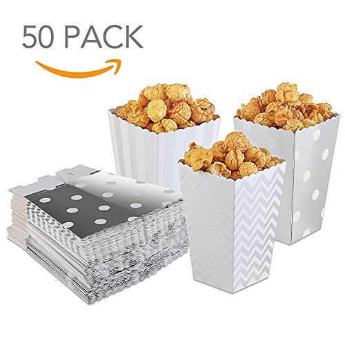 HansGo 36 Pcs Popcorn Boxes Striped Paper Movie Popcorn Favor Boxes Goody Bags Cardboard Candy Container, Silver (Silver Favor Cones)