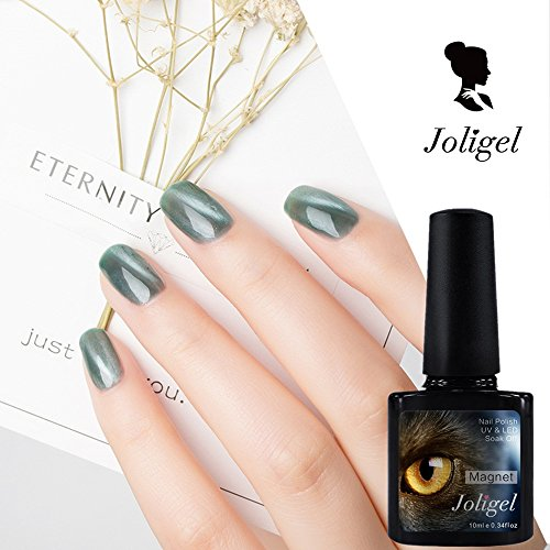 Joligel Magnet Gel Nail Polish Cat Eye UV LED, Jade Green, S