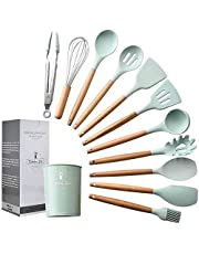 PRIMEXPro Kitchen Utensil Set 12 PCS,Premium Wooden Handle Silicone Cooking Utensils,BPA-Free, Teal Green Including Food Tongs, Scrapers, Serving Spoon, Slotted Turner, Spaghetti Server, Egg Whisk, Slotted Spoon