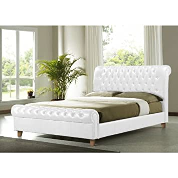 Time Living Richmond 5ft King Size White Faux Leather Bed Bed Frame ...